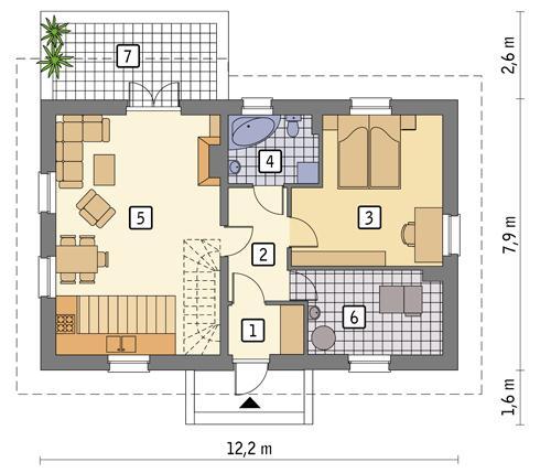 Rzut parteru POW. 73,0 m²