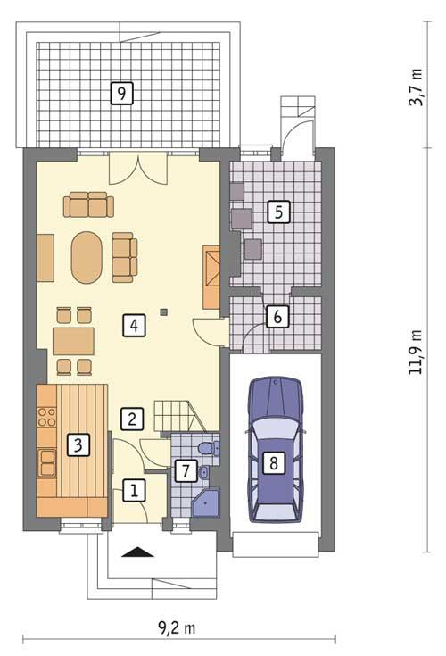 Rzut parteru POW. 82,6 m²