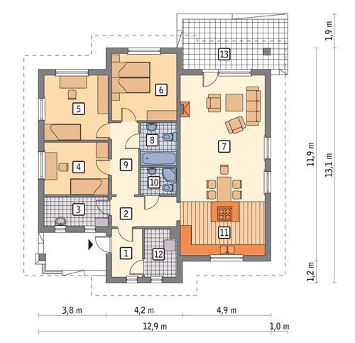Rzut parteru POW. 117,0 m²