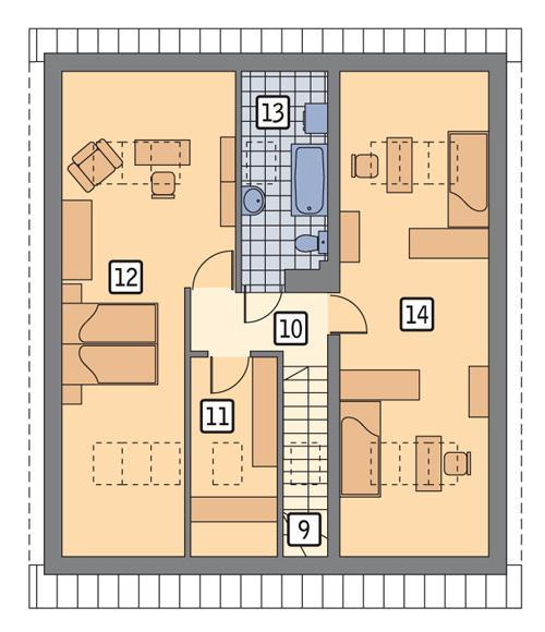Rzut poddasza POW. 69,9 m²