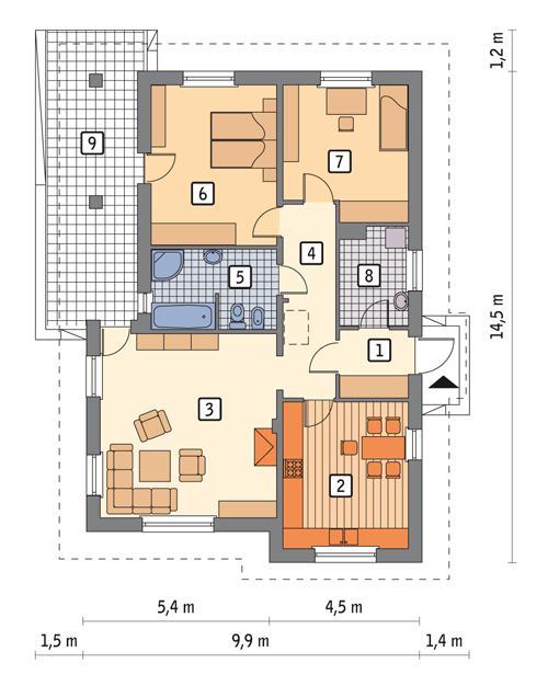 Rzut parteru POW. 100,2 m²