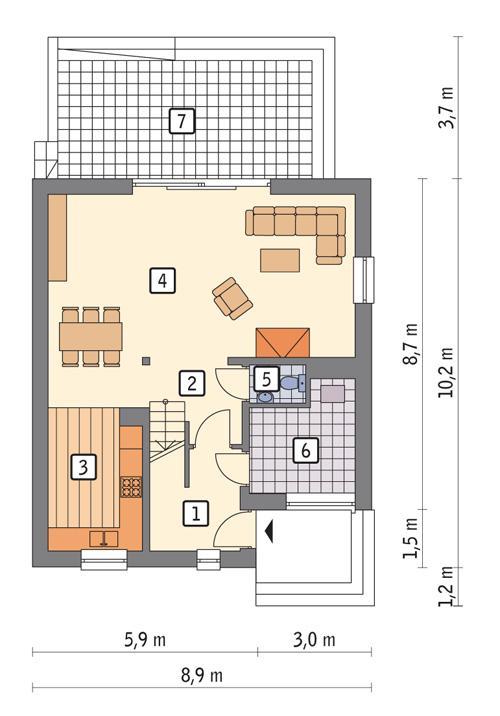 Rzut parteru POW. 65,2 m²