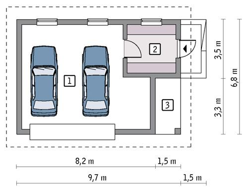Rzut parteru POW. 46,2 m²
