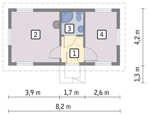 Rzut parteru POW. 24,3 m²