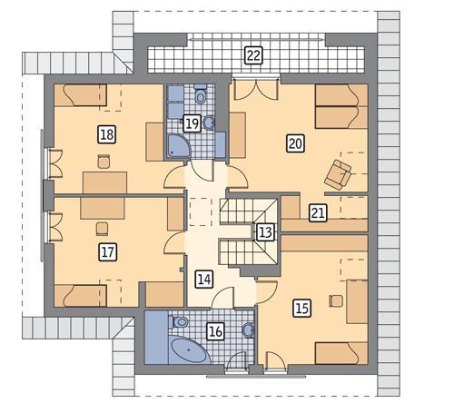 Rzut poddasza POW. 111,1 m²